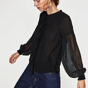 NWT Zara Black Lace Full Sleeve Button Down Blouse